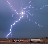 Lightning and trucks - Tucumcari, New Mexico