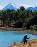 Hiker near Mount Cook - Lake Tekapo, New Zealand