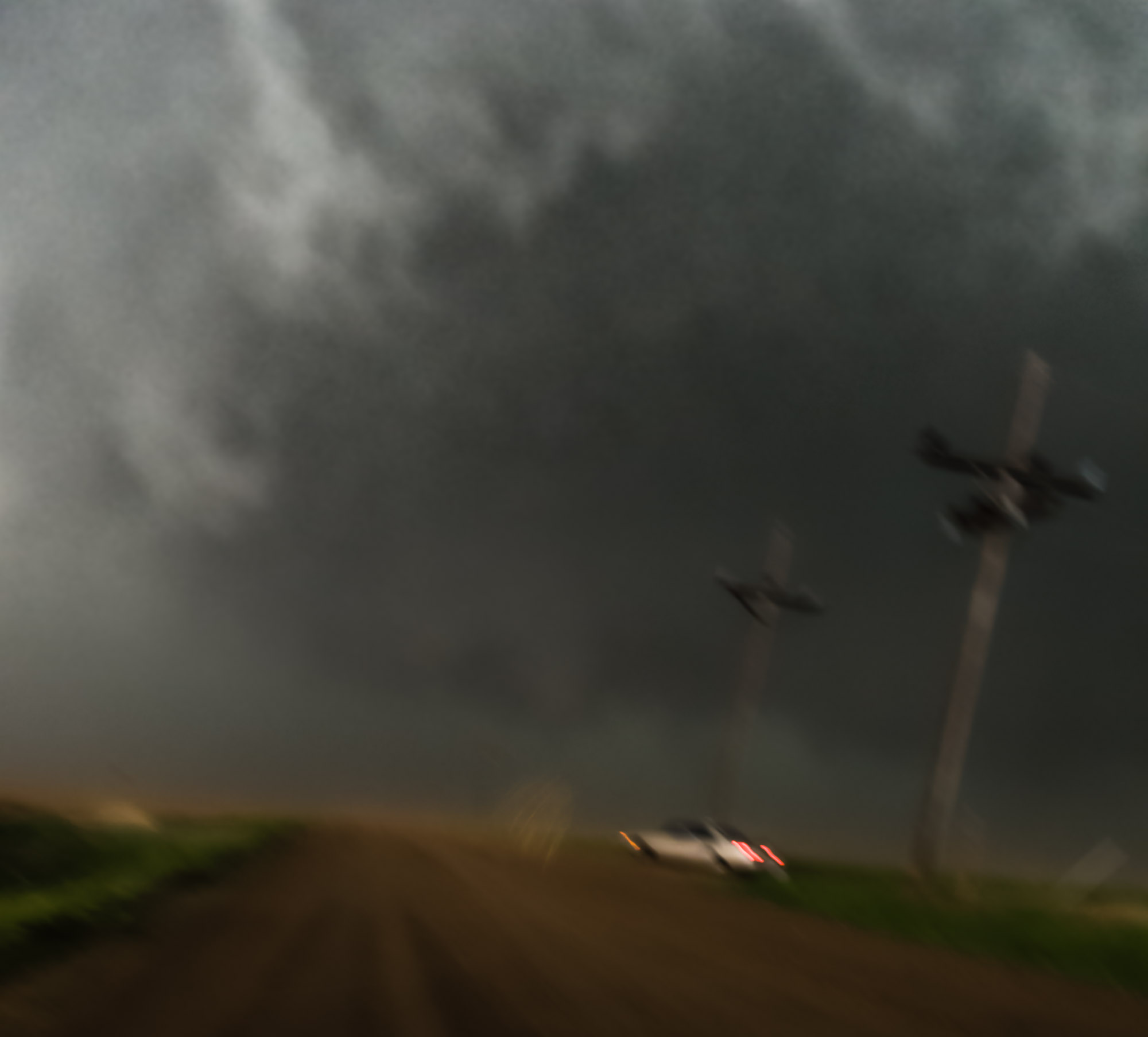Close encounter with funnel cloud - near Collyer, Kansas