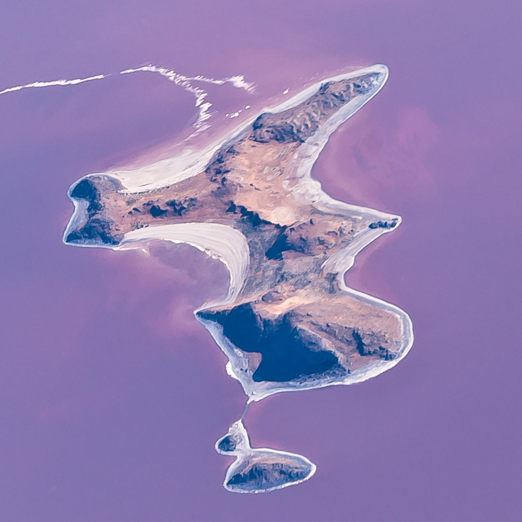 Aerial view of Gunnison Island - Great Salt Lake, Utah