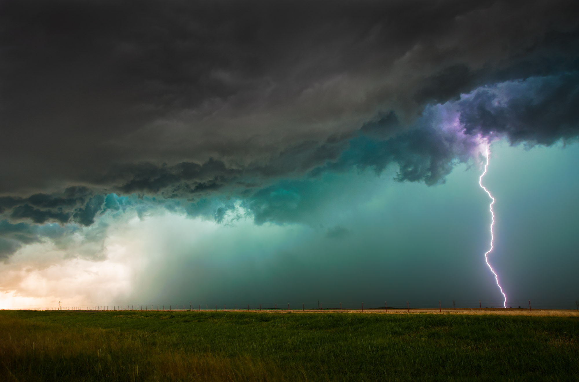 Lightning and green storm clouds - near Olustee, Oklahoma