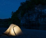 Tent under starry sky - Ozark National Scenic Riverways, Missouri