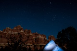 Stars over tent - Needles District, Canyonlands National Park, Utah