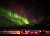 Truck under aurora - Atigun Pass, Brooks Range, Alaska