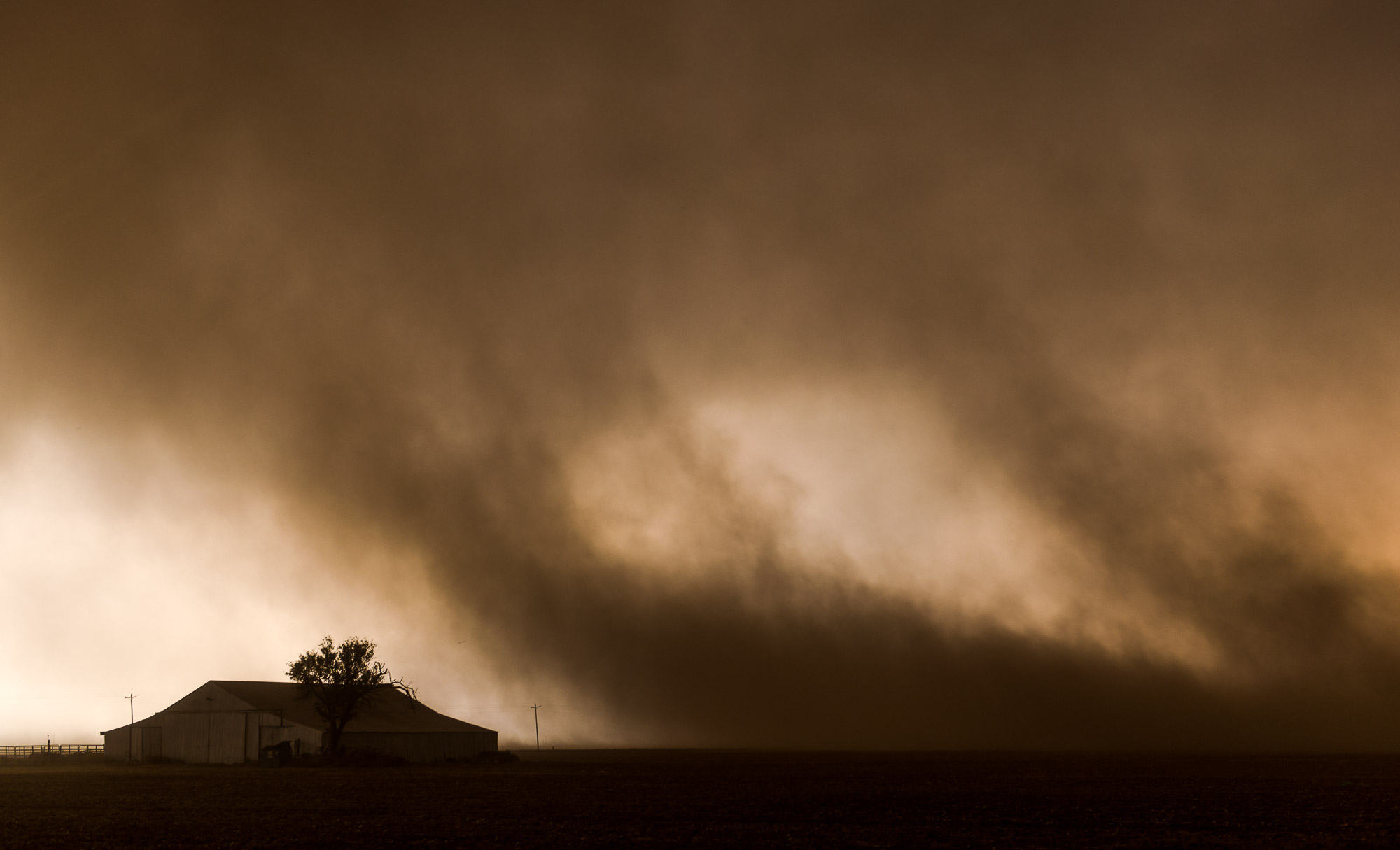 Dust storm and barn - Dickens, Texas