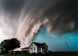 Shelf cloud over farmhouse - near Memphis, Missouri