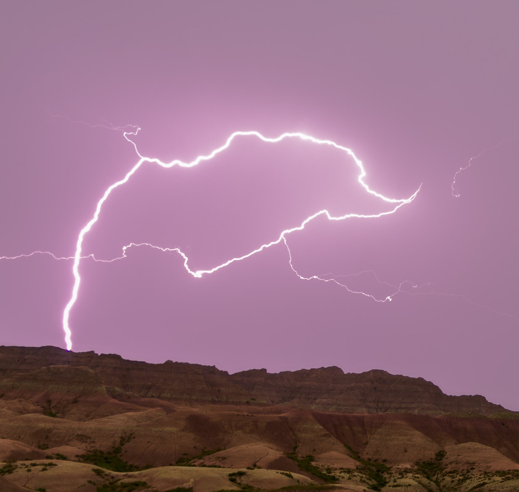 Picturesque lightning - Badlands National Park, South Dakota