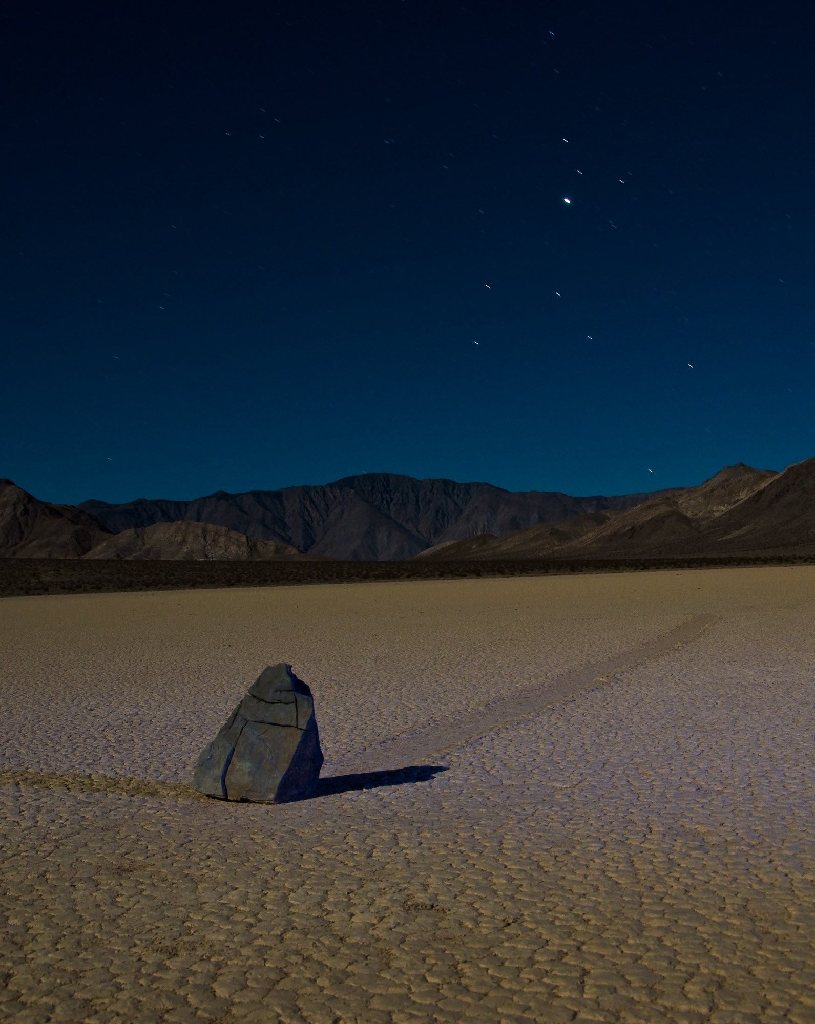 Sailing stone by moonlight - The Racetrack, Death Valley National Park, California