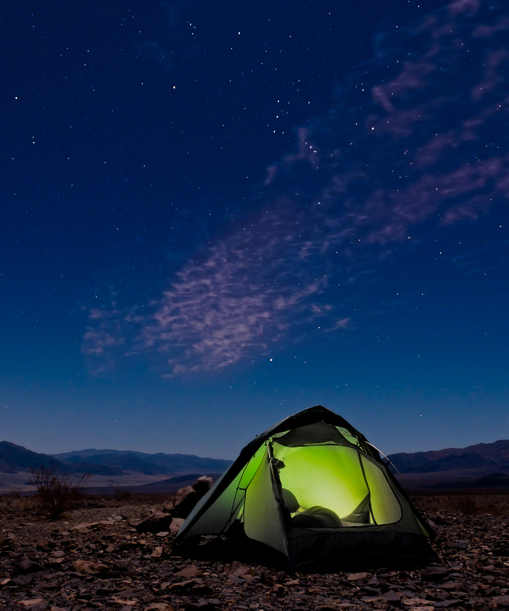 The constellation Orion over a tent - Death Valley National Park, California