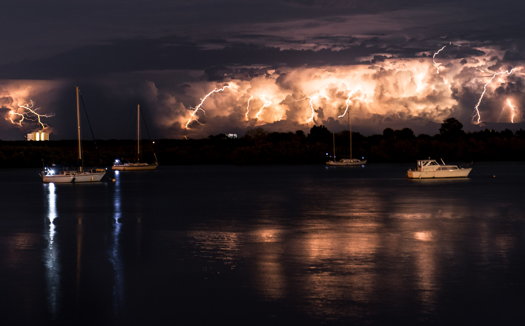 Spectacular lightning over the Halifax River - New Smyrna Beach, Florida