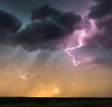 Lightning and setting sun - Bridgeport, Nebraska