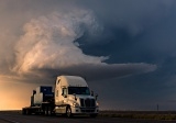 Truck passing thunderstorm - Carlsbad, New Mexico