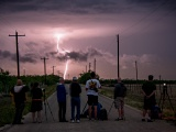 Storm chasers photographing lightning - San Angelo, Texas