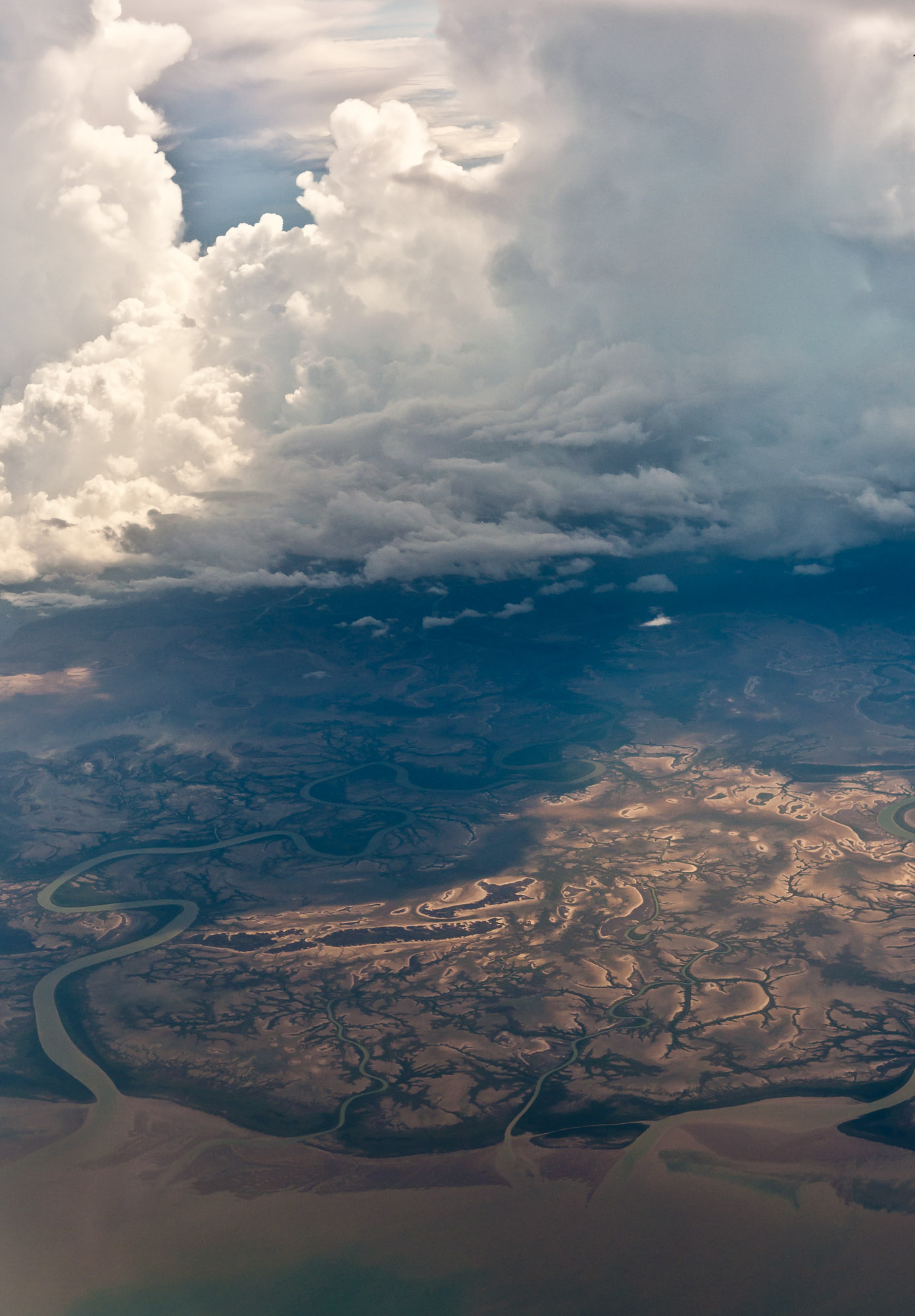 Monsoonal storm clouds over coast near Kakadu National Park, Australia