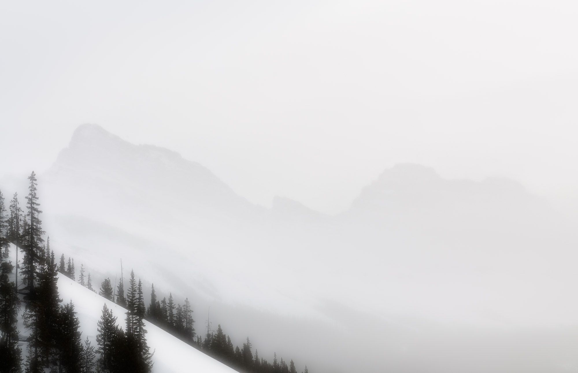 Rocky Mountain vista in snowstorm - Banff National Park, Canada