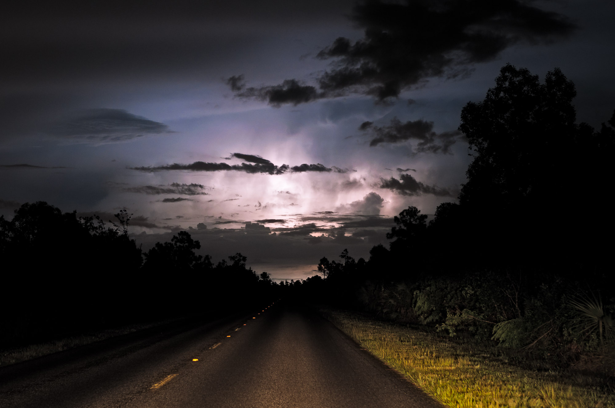 Lightning and park road - Everglades National Park, Florida