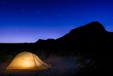 Tent, stars, and Nugent Mountain - Big Bend National Park, Texas
